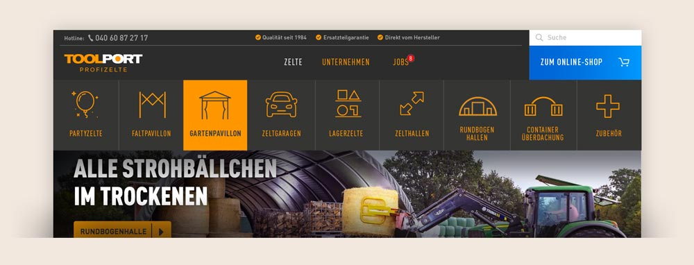 Webdesign Hamburg Toolport WordPress Navigation